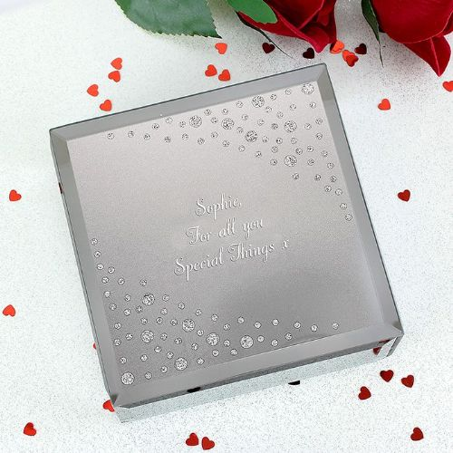 Personalised Any Message Diamante Glass Trinket
